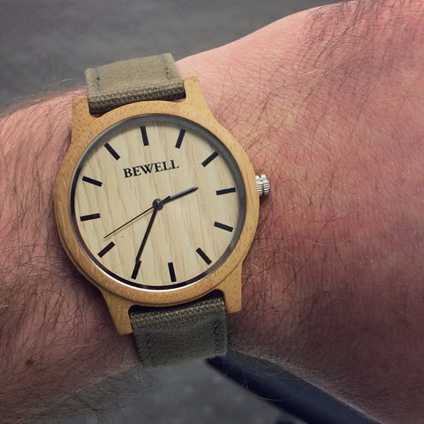 Bewell Wood Canvas Watch Bamboo Wristwatch
