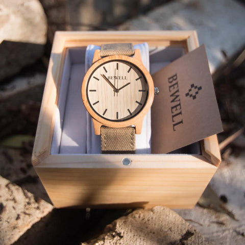 Bewell Wood Canvas Watch Bamboo In Box