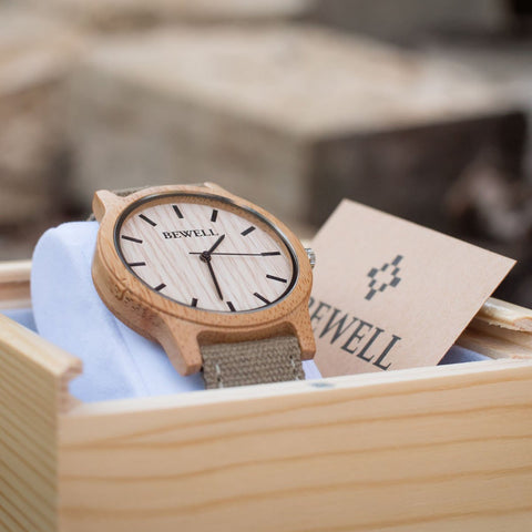 Bewell Wood Canvas Watch Bamboo Watch
