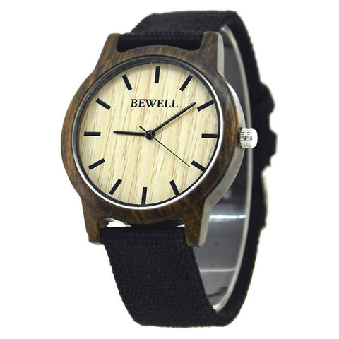 Bewell Wood Canvas Watch Black Sandalwood
