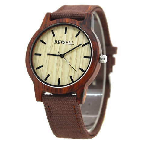Bewell Wood & Canvas Watch - Red Sandalwood