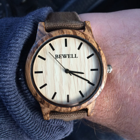 Bewell Wood Canvas Watch Zebrawood Worn