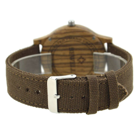 Bewell Wood & Canvas Watch - Zebrawood