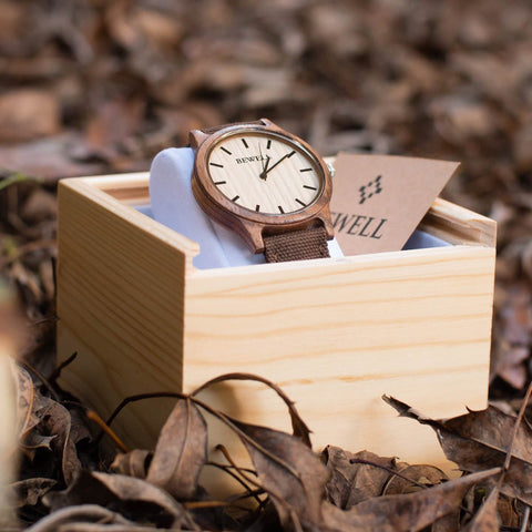 Bewell Wooden Watch Zebrawood