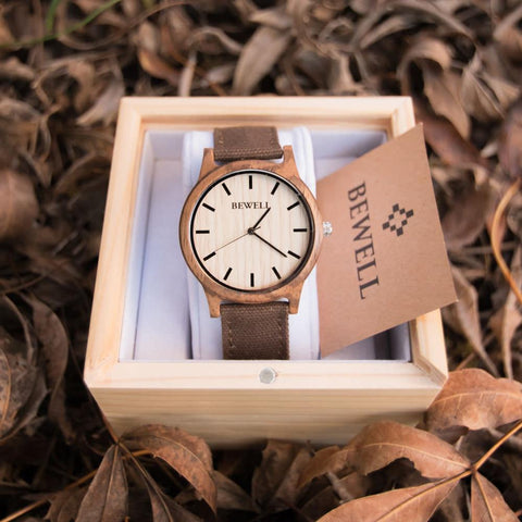 Bewell Wood Canvas Watch Zebrawood In Box