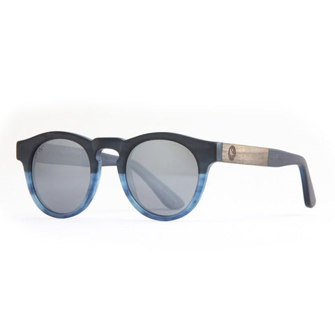 Proof Banks Blue Silver Wood Sunglasses