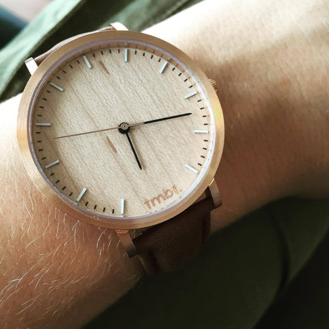 TMBR Helm Rose Gold Wood Watch
