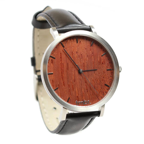 Tmbr Helm Watch Rosewood Silver Front