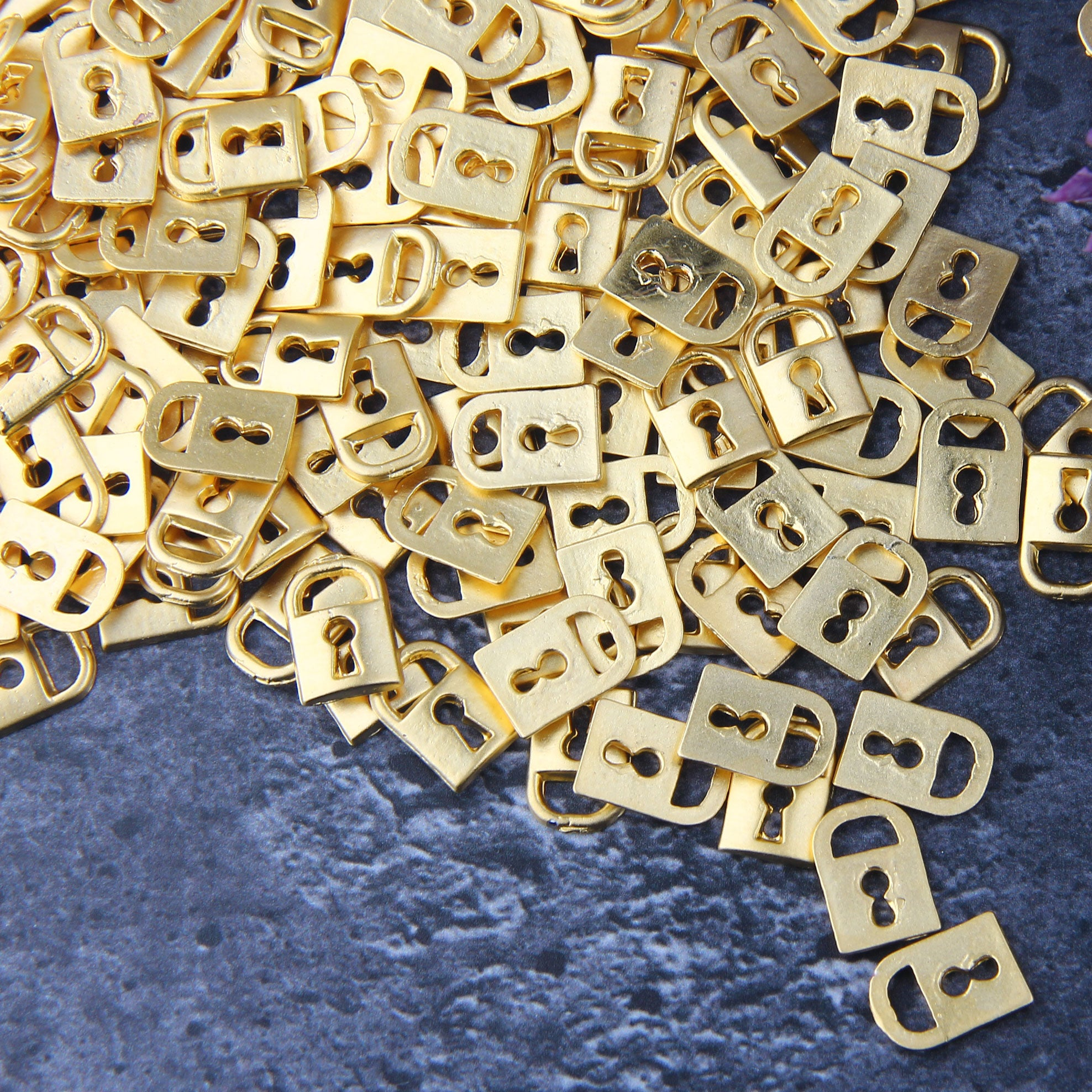 Gold Plated Lock Charms, Mini Lock Charms, Lock Zipper Pulls, Padlock Charms, 10 pieces // GCh-347