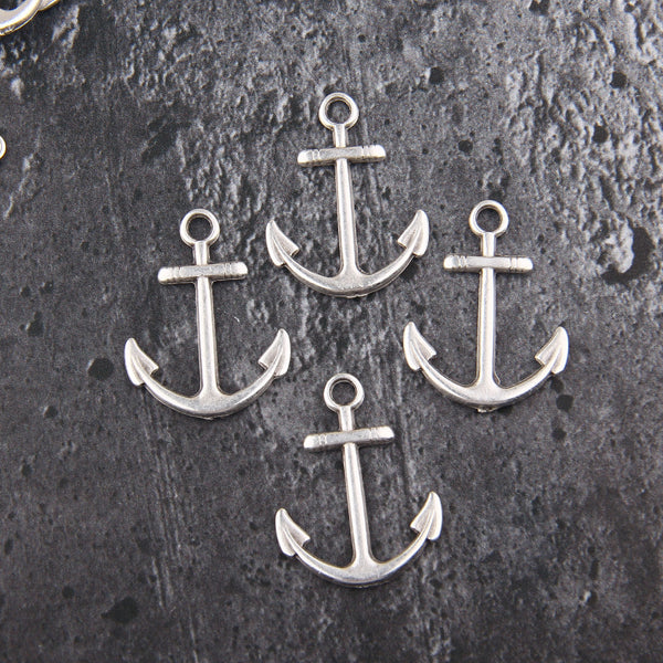Silver Anchor Pendant, Large Anchor Charms, Marine Charms, Nautical Charms, Beach Pendants, Beach Charms, 4 pcs // SP-454