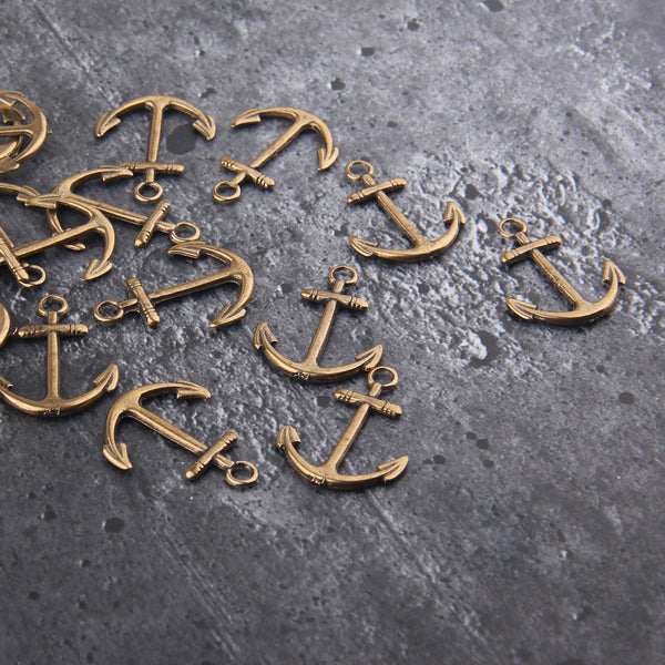 Bronze Anchor Pendant, Large Anchor Charms, Marine Charms, Nautical Charms, Beach Pendants, Beach Charms, 4 pcs // ABP-145