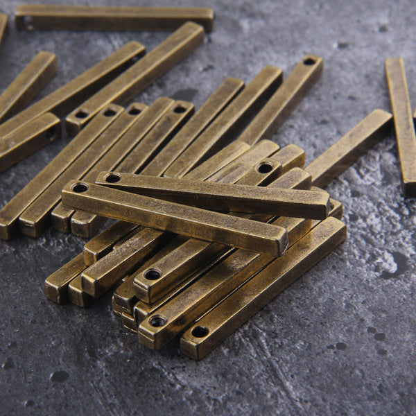 Bronze Plated Bar Pendants, Stick Pendants, Vertical Bar, Cube Bar Pendant, Long Bar Pendant, 2 pcs // ABP-141