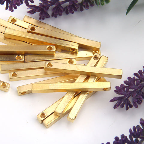 Gold Plated Bar Pendants, Stick Pendants, Vertical Bar, Cube Bar Pendant, Long Bar Pendant, 2 pcs // GP-691