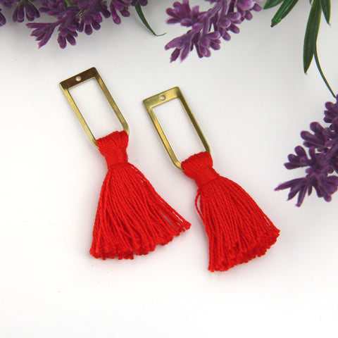 Red, Handmade %100 Cotton Tassel with Raw Brass Components, Cotton Tassel, Boho Tassel, Bohemian Tassel, Mala Tassels, 2 pieces // TAS-163