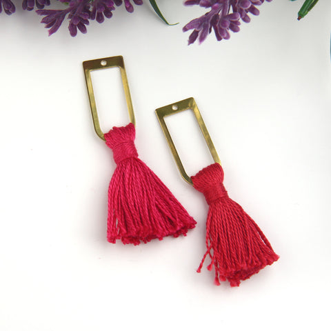 Dark Cranberry, Handmade %100 Cotton Tassel with Raw Brass Components, Cotton Tassel, Boho Tassel, Bohemian Tassel, Mala Tassels, 2 pieces // TAS-163