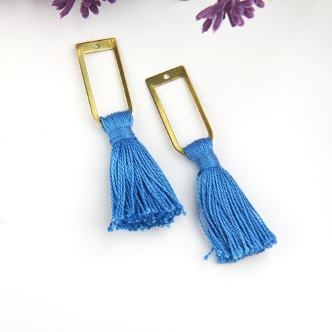 Medium Blue, Handmade %100 Cotton Tassel with Raw Brass Components, Cotton Tassel, Boho Tassel, Bohemian Tassel, Mala Tassels, 2 pieces // TAS-163