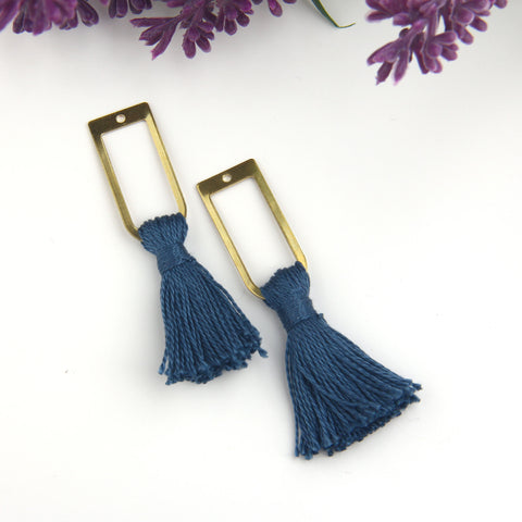 Midnight Blue, Handmade %100 Cotton Tassel with Raw Brass Components, Cotton Tassel, Boho Tassel, Bohemian Tassel, Mala Tassels, 2 pieces // TAS-163