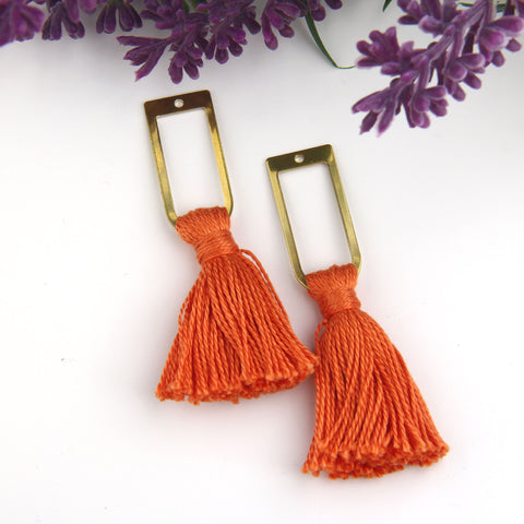 Light Copper, Handmade %100 Cotton Tassel with Raw Brass Components, Cotton Tassel, Boho Tassel, Bohemian Tassel, Mala Tassels, 2 pieces // TAS-163