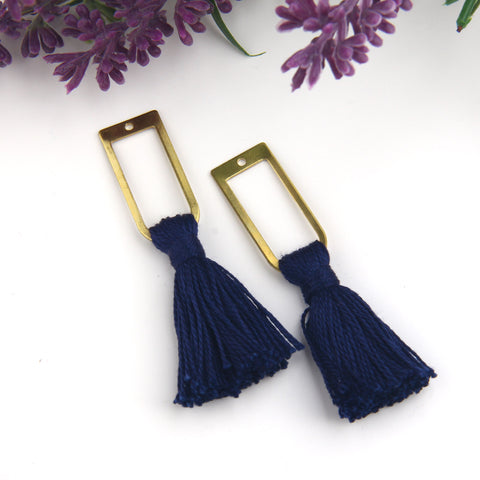Navy Blue, Handmade %100 Cotton Tassel with Raw Brass Components, Cotton Tassel, Boho Tassel, Bohemian Tassel, Mala Tassels, 2 pieces // TAS-163