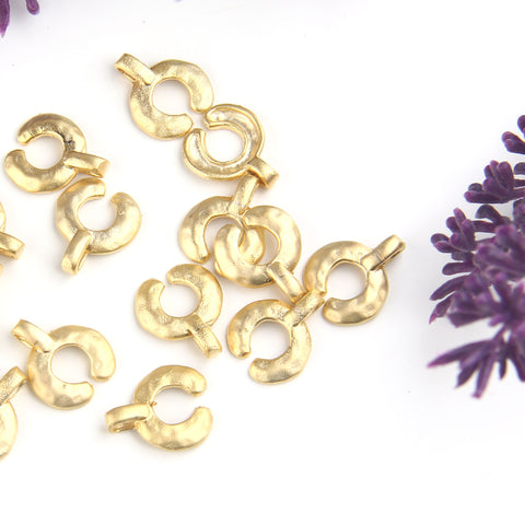 Brass Crescent Charms, Gold Moon Charms, Semi Circle Charms, Tribal Charms, Ethnic Charms, Bohemian Charms, 4 pieces // GCh-349
