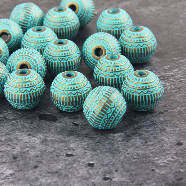 Tribal Acrylic Beads, Verdigris Plastic Beads, Metal Like Beads, Patina Washed Beads, 2 pieces // BD-104