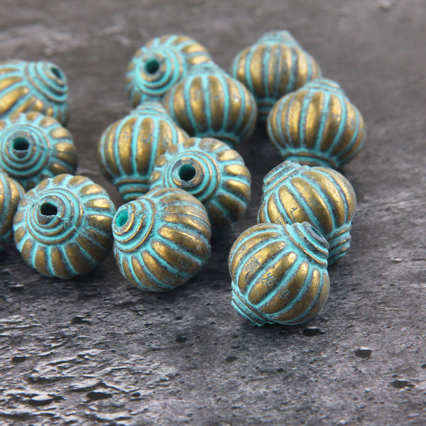 Verdigris Acrylic Beads, Patina Plastic Beads, Metal Like Beads, Patina Washed Beads, 2 pieces // BD-102
