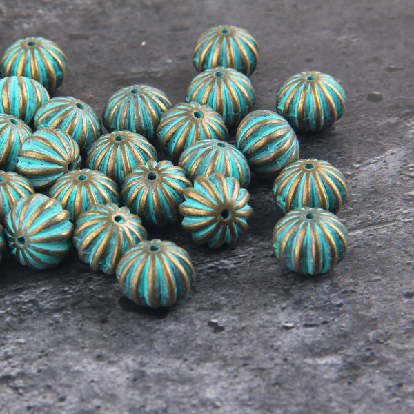 Corrugated Acrylic Beads, Verdigris Plastic Beads, Metal Like Beads, Patina Washed Beads, 4 pieces // BD-101