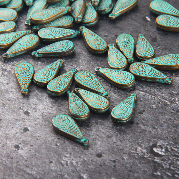 Teardrop Acrylic Charms, Drop Patina Charms, Patterned Drop Charms, Patina Washed Charms, 5 pieces // ACh-014