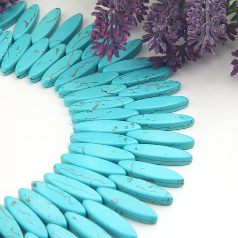 Reconstituted Turquoise Beads, Long Oval Turquiose Beads, Turquiose Drop Beads, 15 pieces // BD-110