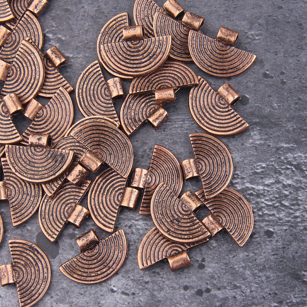 Copper Semi Circle Charms, Half Circle Charms, Tribal Charms, Boho Drops, Jewelry Components, 4 pieces // CH-021