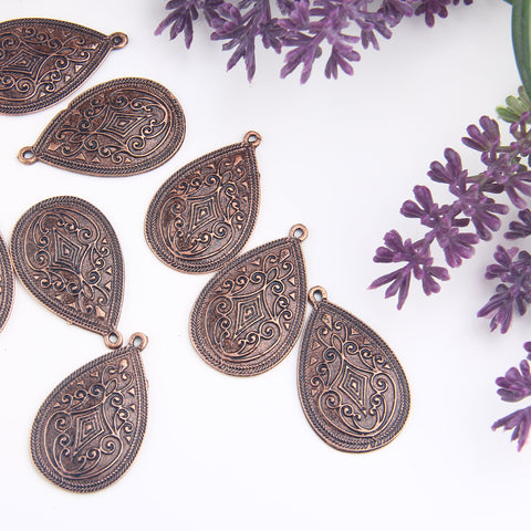 Copper Drop Pendants, Tribal Drop Pendants, Ethnic Copper Drops, 2 pieces // CP-026