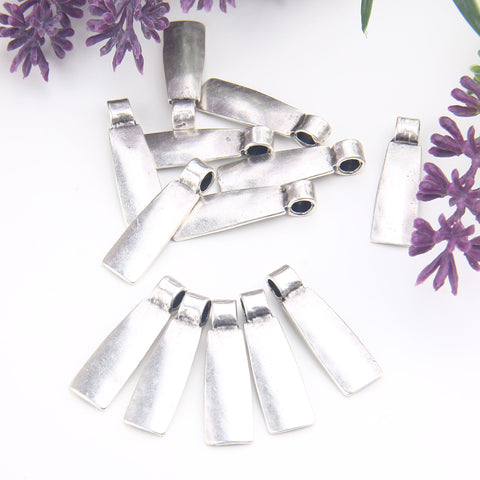 Rectangular Pendant Charms, Trapezium Charms, Silver Plated Geometric Charms, Trapezium Pendants, 3 pieces // SCh-248