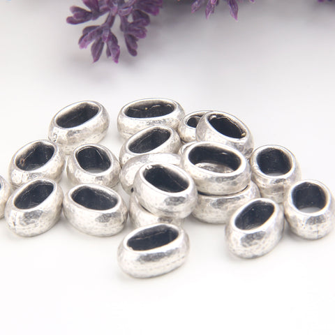 Silver Sliding Beads, Metal Bead Slider, Sterling Silver Plated, Bracelet Slider, Cord Slider, 4 pieces // SB-156