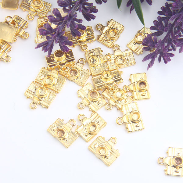 Camera Charms, Photograph Machine Charms, Gold Camera Charms, Camera Drops, 5 pcs // GCh-352