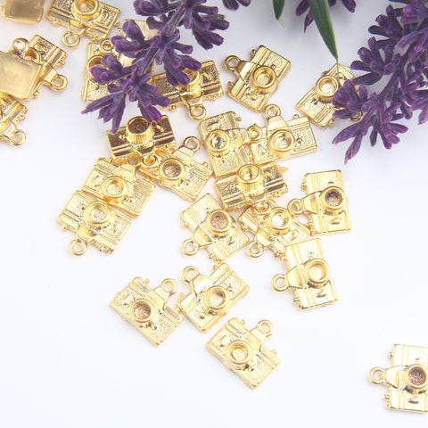 SALE, Camera Charms, Photograph Machine Charms, Gold Camera Charms, Camera Drops, 5 pcs // GCh-352