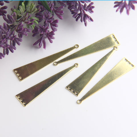 Raw Brass Triangle Connector, Triangle Shaped Pendant, Polymer Clay Components, Earring Components, 6 pieces // RAW-143