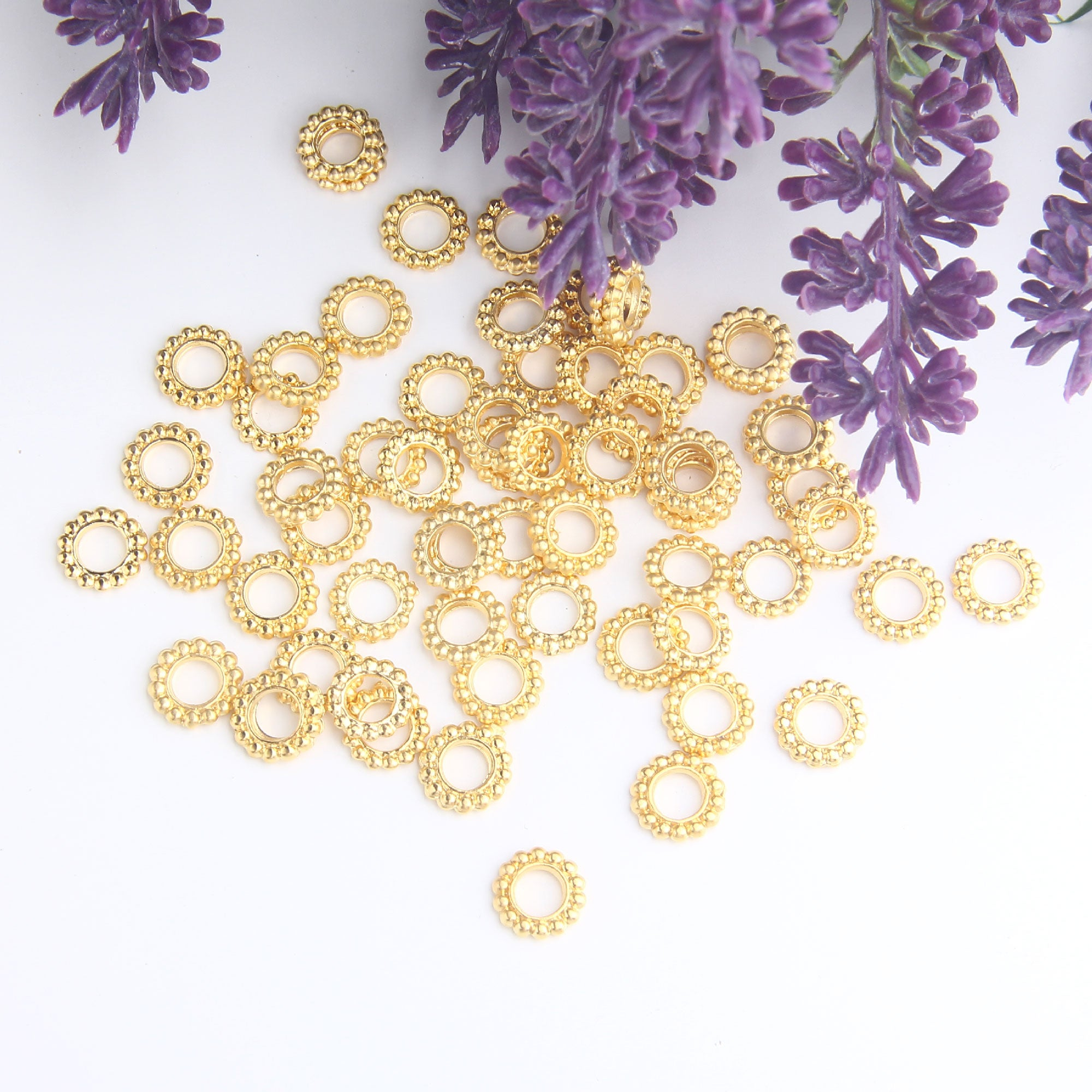 Mini Serrated Round Beads, Mini Round Spacers, 9mm Mini Flat Beads, Mini Gold Beads, 20 pieces // GB-303