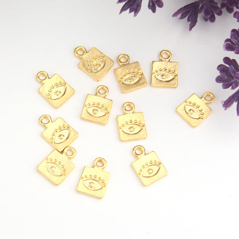 Evil Eye Charms, Evil Eye Drops, Luck Charms, Protection Charms, Good Luck Drops, Gold Evil Eye Charms, 10 pcs // GCh-356