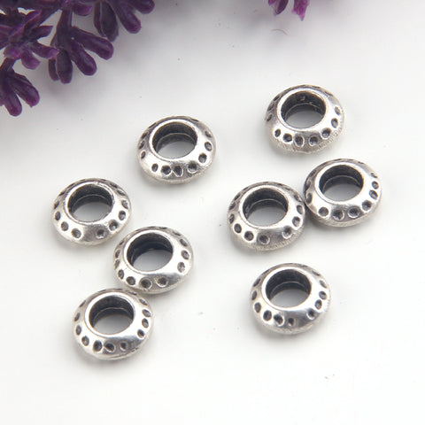 Silver Dotted Round Beads, Dotted Slider Beads, Bead Spacers, 8 pieces // SB-164