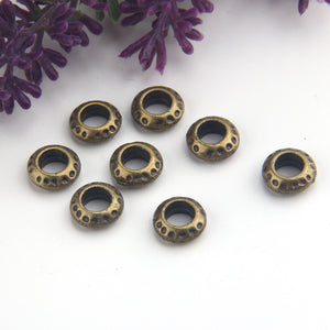 Bronze Dotted Round Beads, Dotted Slider Beads, Bead Spacers, 8 pieces // ABB-043