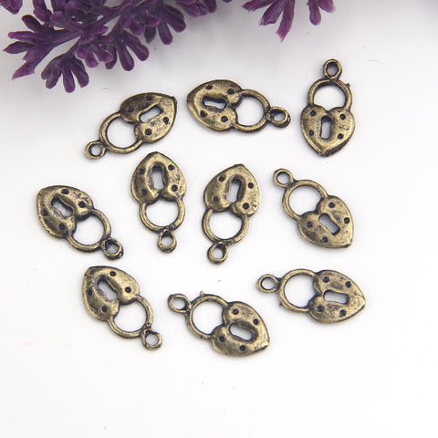 Bronze Heart Lock Charms, Heart SHaped Lock Dangles, Cute Lock Charms, 10 pieces // ABCh-061