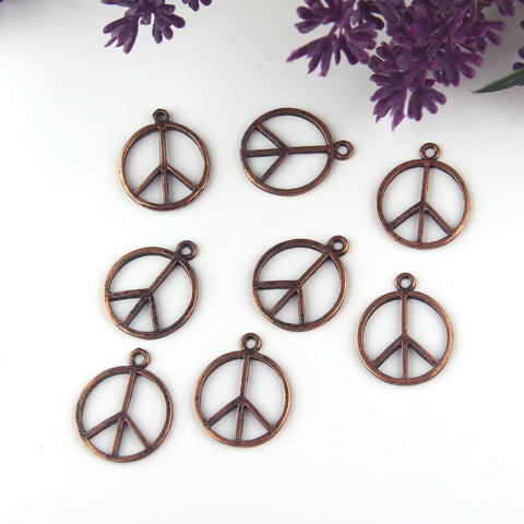 Antique Copper Peace Charms, Peace Sign Pendants, Peace Pendants, Copper Peace Charms, 6 pieces // CH-025