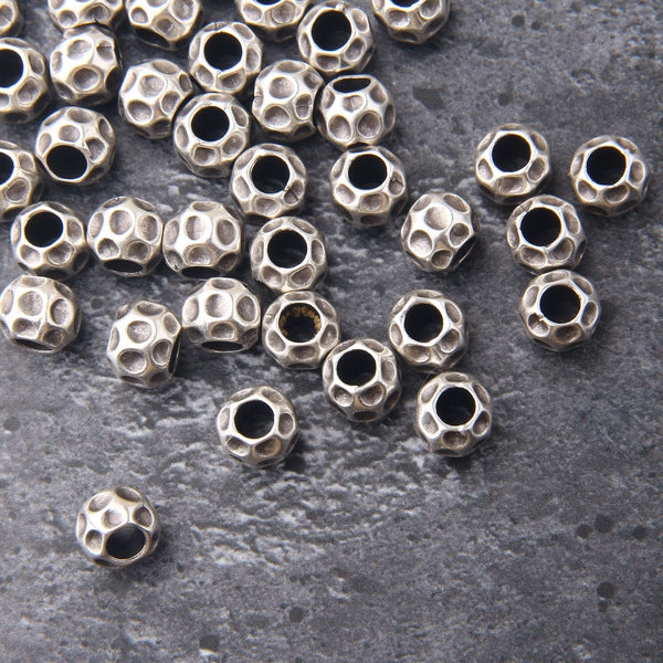 Silver Spongy Beads, Sponge Bead Sliders, Slider Beads, Bracelet Beads, Large Hole Beads, 4 pieces // SB-166