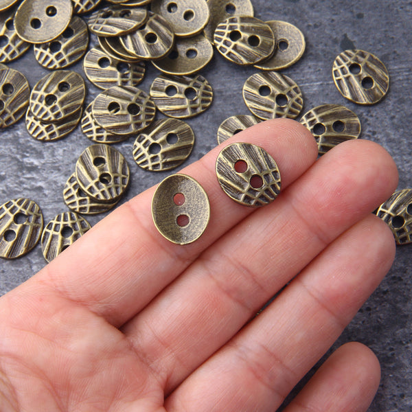 Bronze Button Beads, Bracelet Button Bead, Button Bracelet End, Textured Button Beads, Wrap Bracelet Buttons, 8 pieces // ABB-044