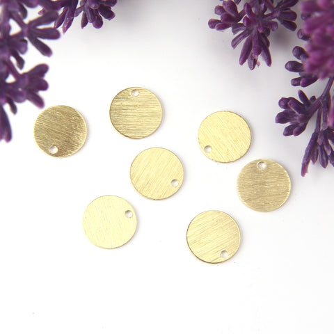 Raw Brass Circle Charms, Blank Charms, Blank Disc Charms, Stamping Blank Charms, 12mm, 15 pieces // RAW-160