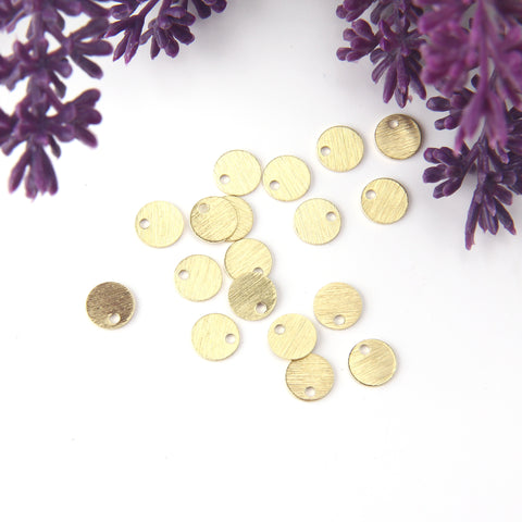 Raw Brass Mİni Circle Charms, Blank Charms, Blank Disc Charms, Stamping Blank Charms, 8mm, 25 pieces // RAW-161