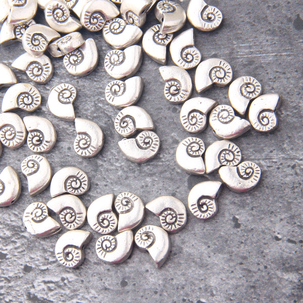 Silver Nautilus Shell Beads, Metal Seashell Beads, Beach Beads, Nautical Slider Beads, 6 pieces // SB-169