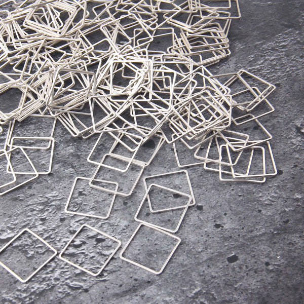 Silver Square Ring Link, Square Connectors, Thin Square Rings, 10 pieces // SC-266