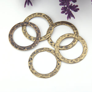 Bronze Hammered Circle Connector, Hammered Ring Link, 3 pieces // ABC-051