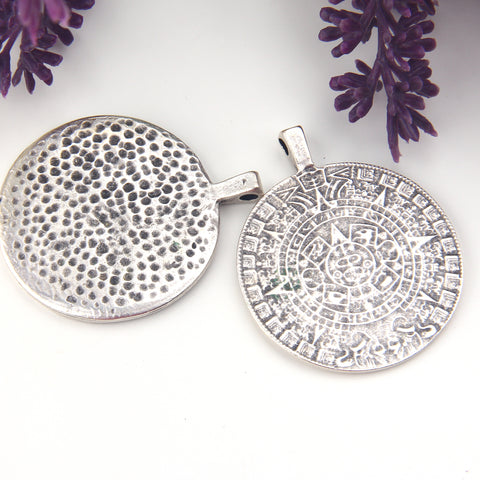 Silver Phaistos Disc Pendant, Ancient Replica Disc Pendant, Ancient Jewelry Supplies, Ancient Symbol Pendant,1 piece // SP-476